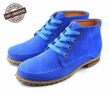 Handmade Women's new Leather ankle boots in Blue bright color