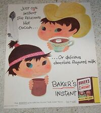 1955 ad page - Baker's Cocoa CUTE Indian girl boy art & Howard Johnson's food AD
