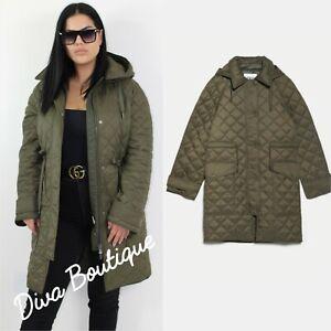 Zara AW 2019/20 Khaki Padded Jacket Coat with Pockets Free P&P Brand New
