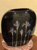 """Otagiri Japanese Vintage Black Oval Floral Blue Iris Vase 7.5"""""""