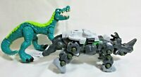 """Lot of 2 Beasts Dinosaurs 7.5"""" L X 3"""" H Movable Parts Plastic"""