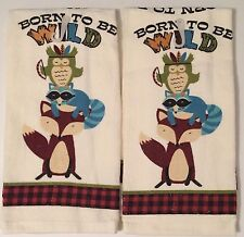 Ritz Woodland Born To Be Wild Fox Owl kitchen dish towels Set of 2