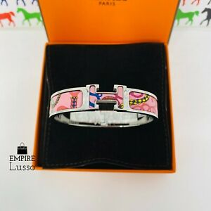 NEW HERMES CLIC CLAC PANOPLIE EQUESTRE PINK HARDWARE ENAMEL BRACELET CUFF PM HOT