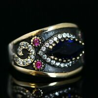 925 Sterling Silver Handmade Authentic Turkish Sapphire Ladies Ring Size 6-12
