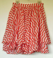 NEW NWT Topshop Coral & White Striped Layered Flouncy & Full Knee-Length Skirt 6
