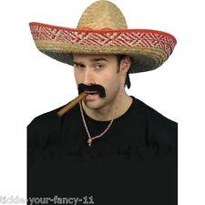 PAGLIA SOMBRERO Cappello Costume Messicano Spagnolo Cowboy Western EXTRA LARGE Unisex