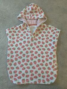Baby Boden Towelling Poncho 18-24 Months Strawberry Baby Girls