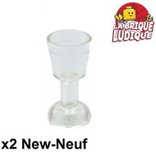 Lego - 2x Minifig utensil verre goblet glass transparent/trans clear 2343 NEUF