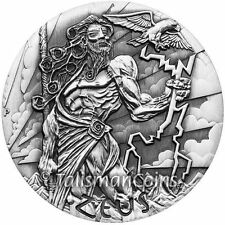 Tuvalu 2014 Gods of Olympus Zeus $2 2 Oz Silver Perth Mint Antiqued COA #0004