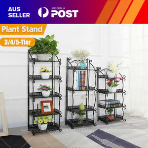 3/4/5 Tier Outdoor Metal Plant Stand Flower Garden Display Holder Rack Shelf