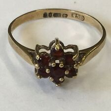 Vintage Solid 9ct Yellow Gold Hallmarked Garnet Cluster Ring Size L 1979