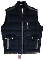 STEFANO RICCI Blue Reversible Beaver Cashmere Crocodile Down Vest Size 54 EU XL