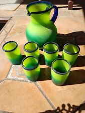 Hand Blown Mexican Glass Pitcher And Tumblers Yellow Green And Blue