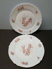 "2 Arcopal France FLORENTINE Dinner Plates 10 1/4"" Pink Flowers Gray Leaves"