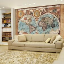 Antique Illustrated Map of the World- Wall Mural,Removable Sticker- 66x96 inches