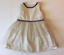 2b2fc327e8ae Carter's girl's cream ivory party dress Gold Glitter Tulle Blue trim ...