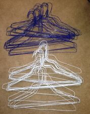 """Used 52 Wire Clothes Shirt Hangers 26 White And 26 Blue Approx 17.5"""" Wide"""