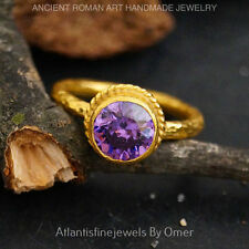 Ring By Omer 24k Gold Vermeil Free Size* Turkish 925 Sterling Silver Amethyst