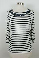 Banana Republic Womens 3/4 Sleeve Sequin Scoop Neck Black White Striped Shirt S