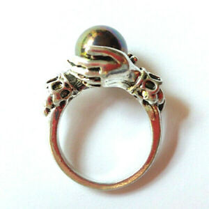 Crystal Ball Womens Ring Witch Pagan Salem Magic Spell Gypsy Silver Gothic Gift
