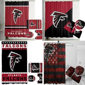 Atlanta Falcons Bathroom Set Shower Curtain Toilet Lid Cover Non-Slip Mats