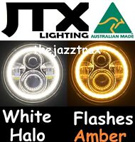 "JTX 7"" LED Headlights White DRL Halo Angel Eye flash AMBER for Nissan Patrol GQ"