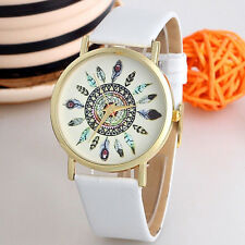 Latest Women Watch Feather Dial Leather Band Quartz Analog Wrist Watches  B8F0