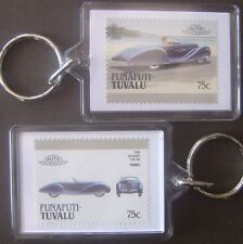 1939 DELAHAYE Type 165 Car Stamp Keyring (Auto 100 Automobile)