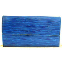 Auth LOUIS VUITTON Long Credit Bifold Wallet Epi Leather Blue M63565 05BG393