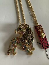 Betsey Johnson Crystal MULTI Lion Pendant Charm Sweater Chain Necklace-BJ66441