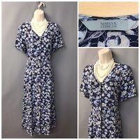 Marks & Spencer Navy Floral Retro Dress UK 12 EUR 40