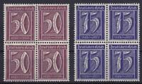 DR Mi Nr. 183, 185 ** 4er Blocks, Ziffer Deutsches Reich 1921, postfrisch, MNH
