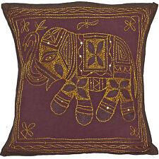 40cm Pflaume brauner Elefant Kissenbezüge Indische Handarbeit Baumwolle bestickt