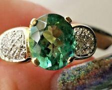 4.40TCW Beautiful Blue Green Tourmaline Diamond 14k yellow gold ring