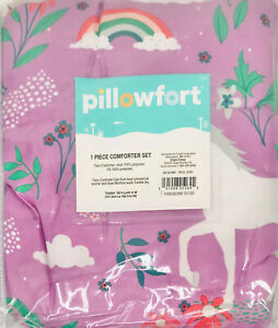 Pillowfort Target 1 Piece Comforter - Toddler Size - Purple Unicorn Rainbow