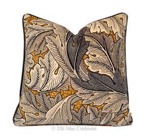 William Morris Acanthus Mustard Grey Luxury Velvet Cushion Pillow Cover