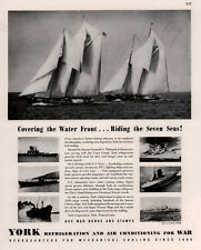 1936  WWII ADS  YORK AIR CONDITIONING AND REFRIGERATION SKIPPER WAR SHIPS SAIL