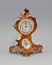Porzellan Uhr Rokoko-Stil Kaminuhr braun/gold Ens/Ernst Bohne H30cm 9941865