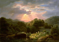 "oil painting 100% handpainted on canvas "" Landscape with Sheep """