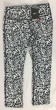 NIKE Women's TRAINING Capri Leggings Pants Black White Print 839969 Size M