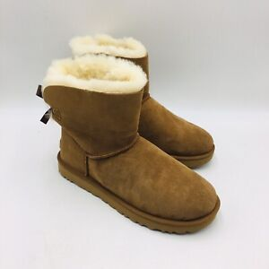 UGG Women's Mini Bailey Bow II Boots Size 10M Chestnut Suede