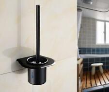 Black Wall Mounted Bathroom Cleaner Kit Space Aluminum Toilet Brush Holder Set