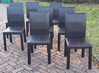 SET of 8 LUXURY STYLE of ENRICO PELLIZZONI STITCHED BROWN LEATHER DINING CHAIR
