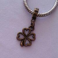 Lucky Four Leaf Clover Good Luck Dangle Bead for European Style Charm Bracelet