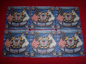 6 New US COAST GUARD FLAG Absorbent Drink Coasters - Never Used