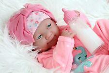 """~NEW~ Preemie Berenguer Newborn Baby Girl Doll 14"""" Full Vinyl Silicone Handmade"""