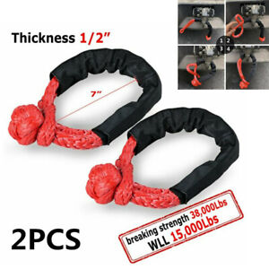 """2x 1/2"""" Shackle Towing Rope Synthetic Tow Recovery Strap 38,000LBs For Off-Road"""
