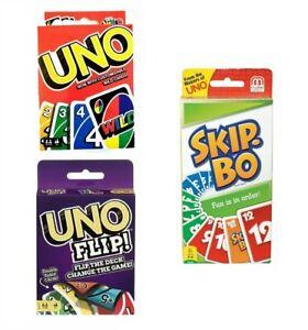 UNO Flip ! - Skip Bo - UNO Wild Gesellschaftsspiel Kinder Kartenspiel