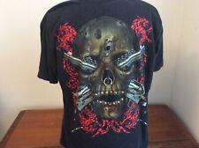 Jay's Rock Graphic Skull and Guns Genuine Studs Front Black Shirt Size XL