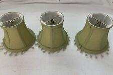 "Lot Of 3 Miniature Mini Lamp Shades Green Fabric Beaded Fringe 4"" Tall"